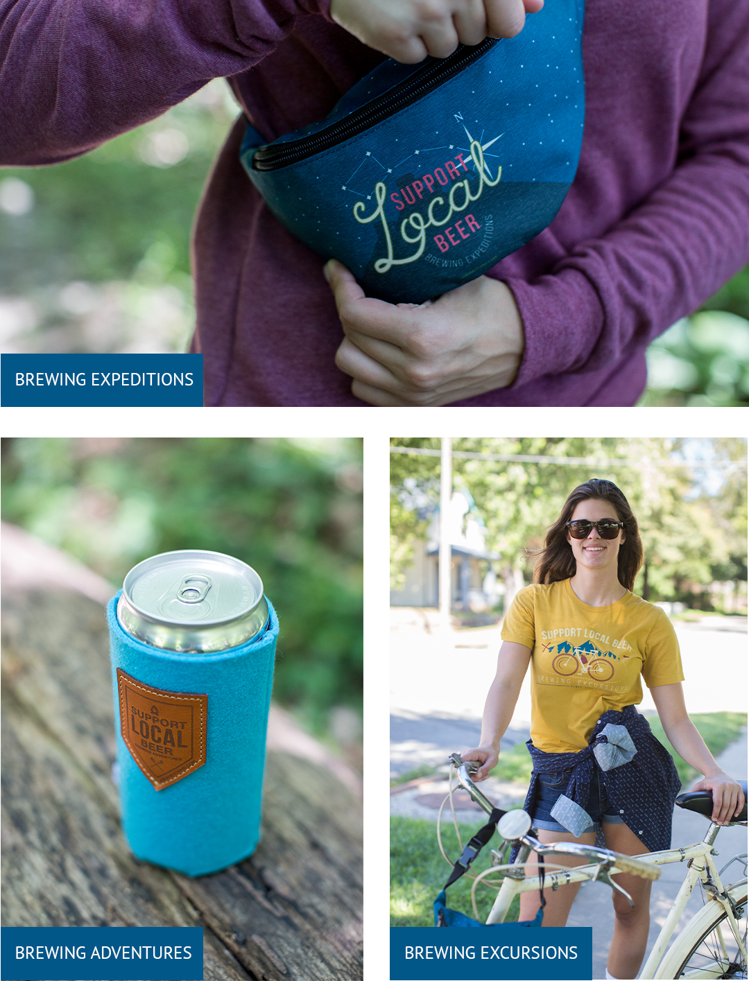 Collage of photos with branding on promotional items